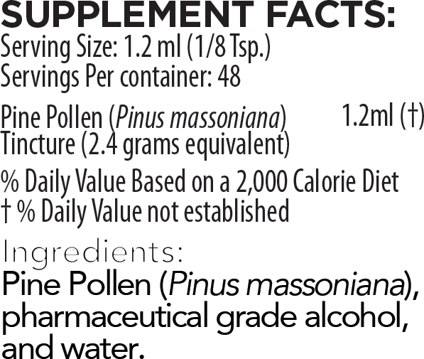 Pine Pollen Tincture Supplement Facts