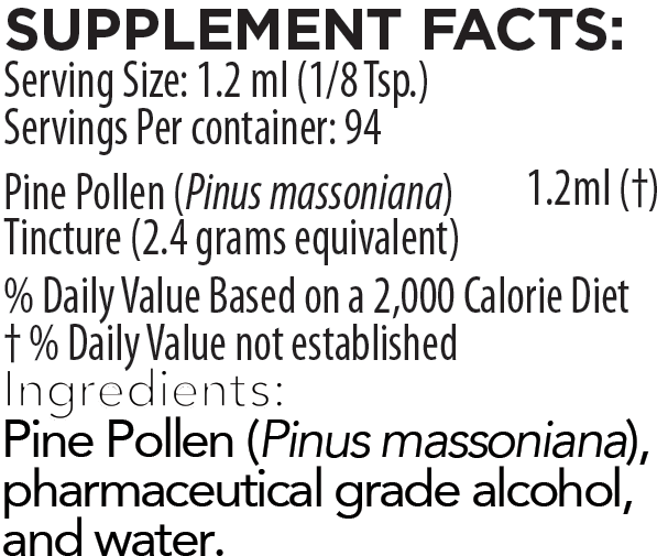 Pine Pollen Tincture 4 Ounce Supplement Facts